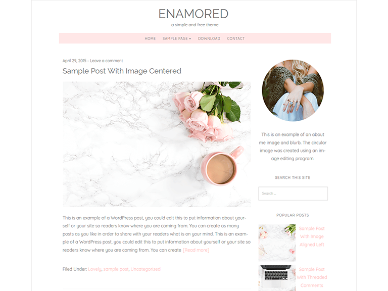 enamored modello free wordpress